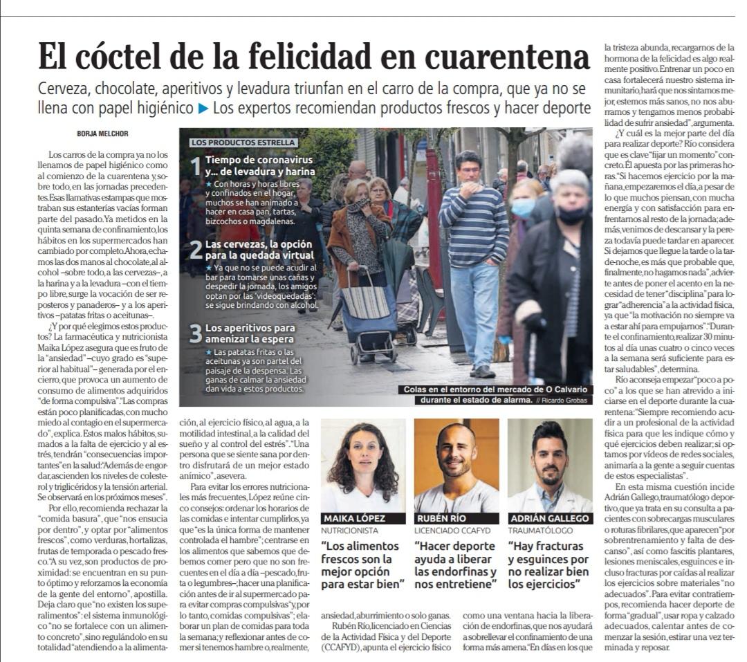 Faro de Vigo recorte RRsalud gimansio entrenamiento personal coruña
